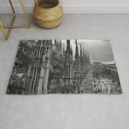 Milan Cathedral, Lombardy, Milan, Italay black and white portrait photography Rug