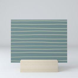 Blue-Green Minimal Horizontal Line Pattern V2 2021 Color of the Year Aegean Teal and Salisbury Green Mini Art Print