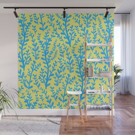 Yellow and Blue Floral Leaves Gouache Pattern Wall Mural