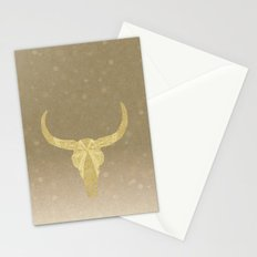 Gold Glitter Cow Skull Stationery Cards