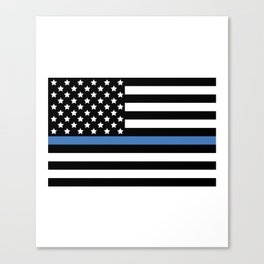 Blue Thin Flag Police Law Enforcement Flag Canvas Print