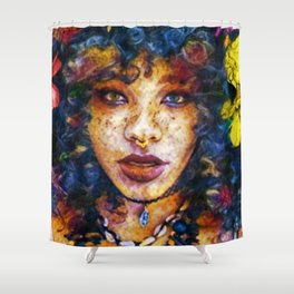 'Started At the Bottom,' African American Female Portrait Shower Curtain