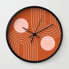 Mid Century Modern Geometric 64 (Rainbow and Sun Abstraction) Wall Clock