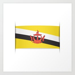 Flag of Brunei.  The slit in the paper with shadows. Art Print