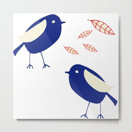 blue bird with fall leaves Metal Print