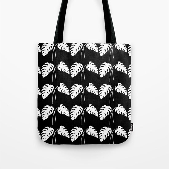 Tropical Monstera Leaves White on Black Tote Bag
