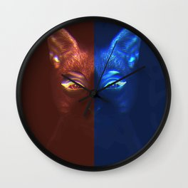 Neon Cat Wall Clock