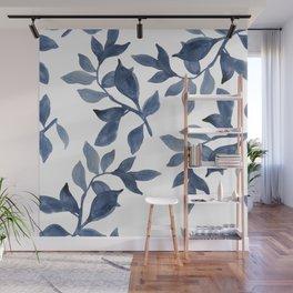 Indigo Leaves Watercolour painting Wall Mural