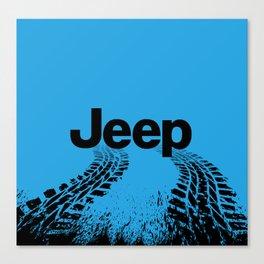 Jeep 'Tire-tracks' Surfblue Canvas Print