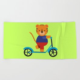 Tiger on Scooter Beach Towel