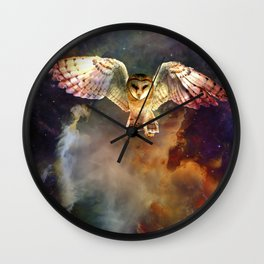 Midnight Owl Rising in Space Wall Clock