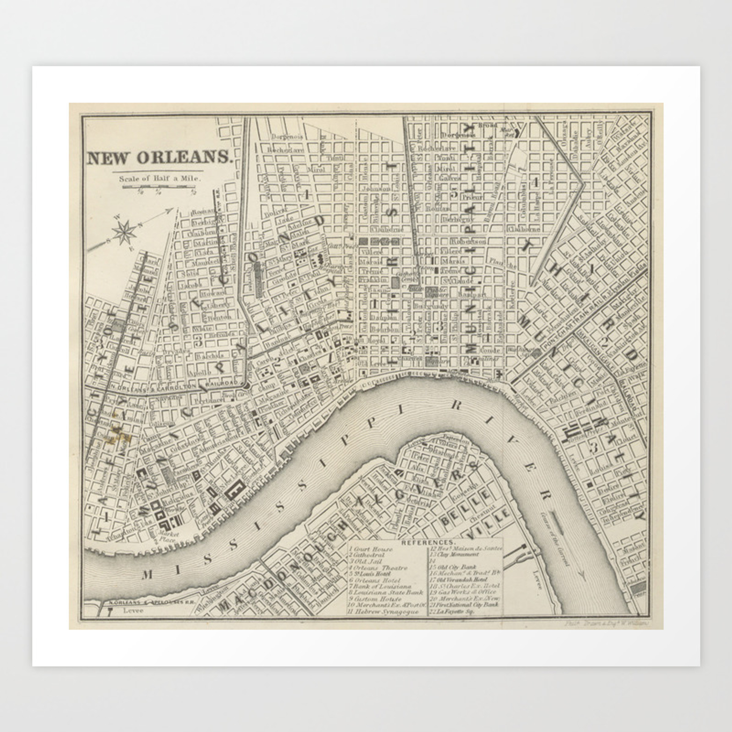 photo relating to Printable Maps of New Orleans titled Common Map of Fresh Orleans LA (1866) Artwork Print