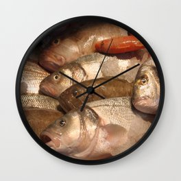 Variety of Fresh Fish Seafood on Ice 2 Wall Clock