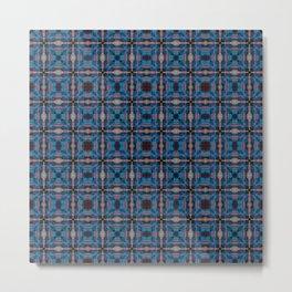 Blue squares pattern Metal Print