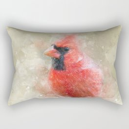 Northern Cardinal Watercolor Splatter Rectangular Pillow