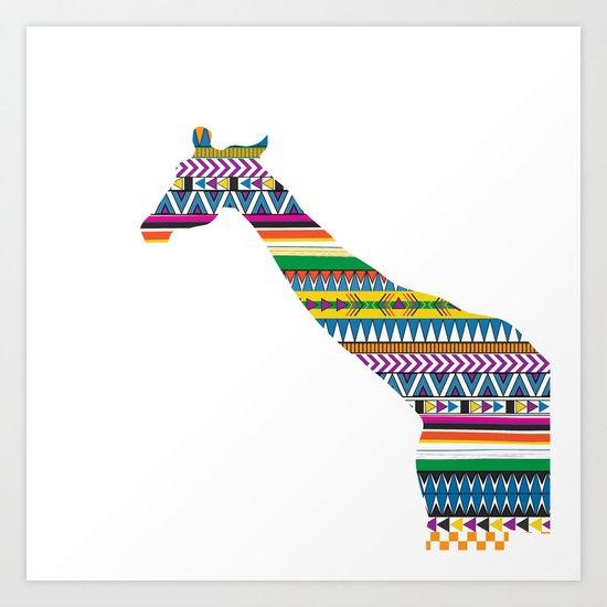 Giraffe with Tribal Pattern Art Print