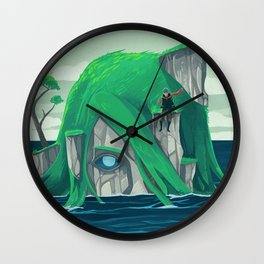 The wanderer and the ancient island Wall Clock