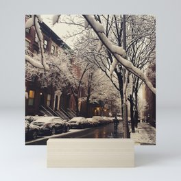 Photo of the beautiful Brooklyn Heights covered in icy snow Mini Art Print
