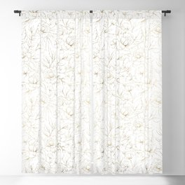 Elegant simple modern faux gold white floral Blackout Curtain
