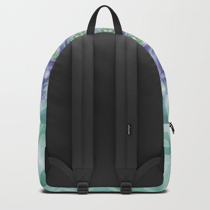 Bright Green and Purple Fractal Kaleidoscope Mandala Backpack