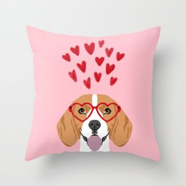 Beagle head love hearts valentines day dog breed must have gifts Throw Pillow