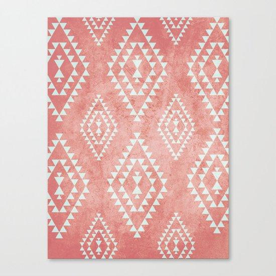 mint & coral tribal pattern (2) Canvas Print