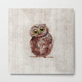Little Owl, Owlet, Baby Animal, Baby Bird, Illustration, Animal Art Metal Print