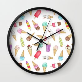 Scattered Ice Creams and Ice Lollies Wall Clock