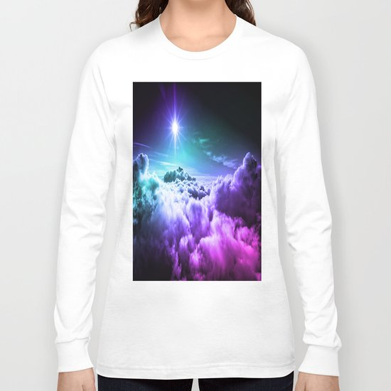 Cool Tone Ombre Clouds Long Sleeve T-shirt