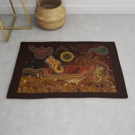 Desert Heat - Australian Aboriginal Art Theme Rug