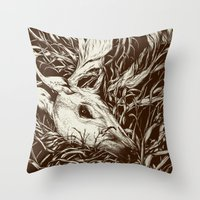 leaves Throw Pillows featuring doe-eyed by Teagan White
