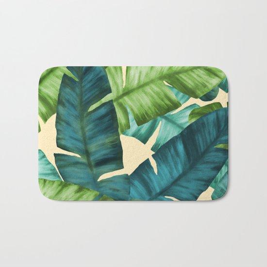 Tropical Banana Leaves Original Pattern Bath Mat