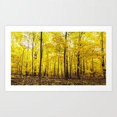 bright yellow woods Art Print