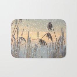 Phragmites Reed grass in the snowfall Bath Mat