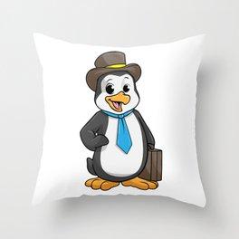 Penguin as Entrepreneur with Briefcase Throw Pillow