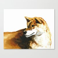 shiba inu Canvas Prints featuring Shiba Inu by Naomi Bardoff