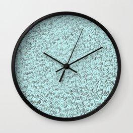 Aqua and Gray Rose Flurry Wall Clock