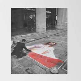 Street Art in Bologna Black and White Photography Color Throw Blanket
