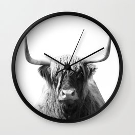 Highland cow | Black and White Photo Wall Clock