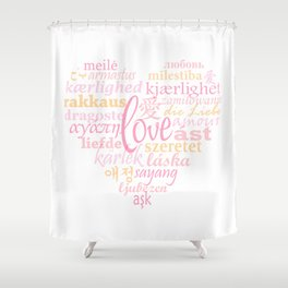 Love in Multi-Language Shower Curtain