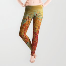 Abstract Dots Dried Leaves Leggings