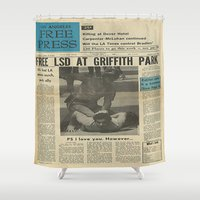 lsd Shower Curtains featuring Free LSD in Griffith Park by Los Angeles Free Press
