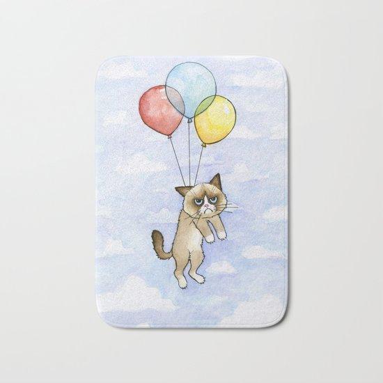 Cat With Balloons Grumpy Birthday Meme Bath Mat