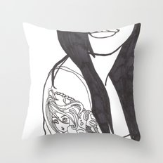 Girl With a Mermaid Tattoo Throw Pillow