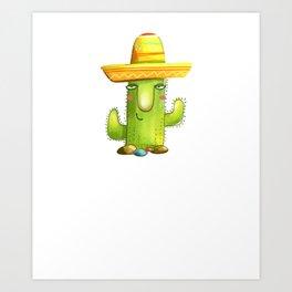 Cute Cactus Sombrero Mexican Cinco De Mayo Plant Lover Art Print