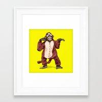 onesie Framed Art Prints featuring Monkey Onesie by Alex Terry
