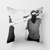splatter Throw Pillows featuring Splatter by Brandon Juarez