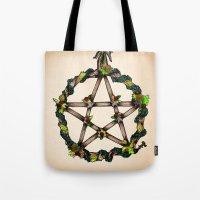 pentagram Tote Bags featuring PENTAGRAM GARLAND by Dianah B