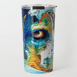 Colorful Beagle Dog Art By Sharon Cummings Travel Mug