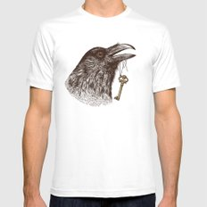 Raven's Head MEDIUM White Mens Fitted Tee